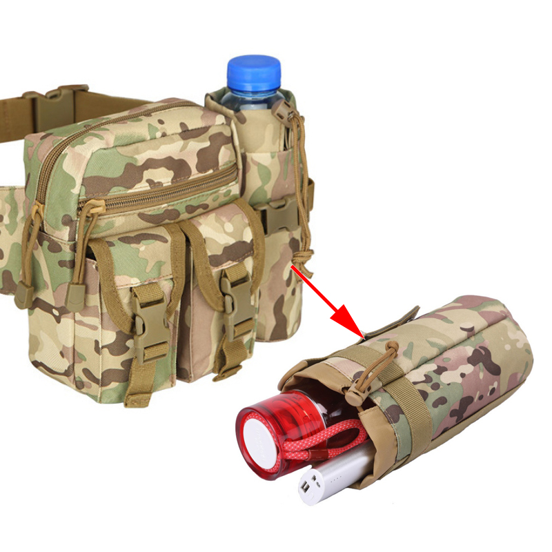 2L Portable Tactics Sport Bags Cover Water Bottle Pouch Camping Kettle Bags For Backpack Vest Belt Travel Cycling Hiking Tool