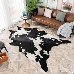 Imitation peau de vache imprimé Shaggy fausse fourrure tapis Animal forme naturelle tapis enfants dessin animé décoration de la maison chambre tapis