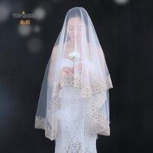 Topqueen v59 Красивая свадебная вуаль с цветочной вышивкой белая