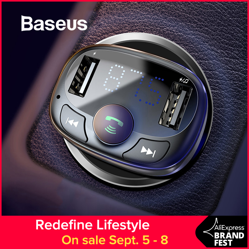 Baseus Car Charger for iPhone Mobile Phone Handsfree FM Transmitter Bluetooth Car Kit LCD MP3 Player Dual USB Car Phone Charger Бороскопы
