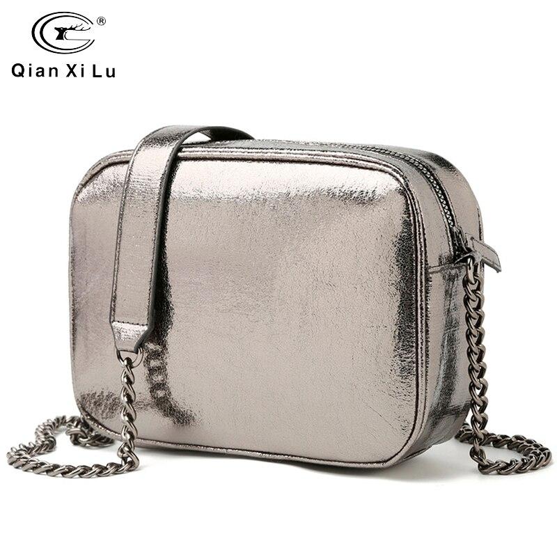 Sliver Chain Handbag Designer For Women Pu Leather Crossbody Bag Fashion Ladies Messenger Bag Travel Large Capacity Sac A Main
