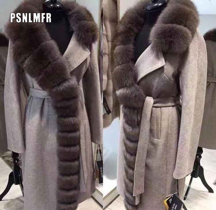 105CM Plus Size Real Fox Fur Collar Cashmere Coat Wool Blends Winter Sable Color Real Fur Trench Women Clothes Real Fur Outwear
