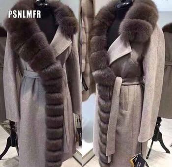 105CM Plus rozmiar kołnierz z prawdziwego futra lisów kaszmirowy płaszcz mieszanki wełniane zimowe Sable kolor prawdziwe futro wykop kobiety prawdziwe futro odzieży wierzchniej