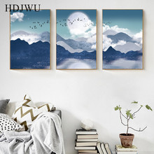 Artistic Mountain River Canvas Painting Wall Picture Creative Decorative Printing Poster for Living Room  AJ00297