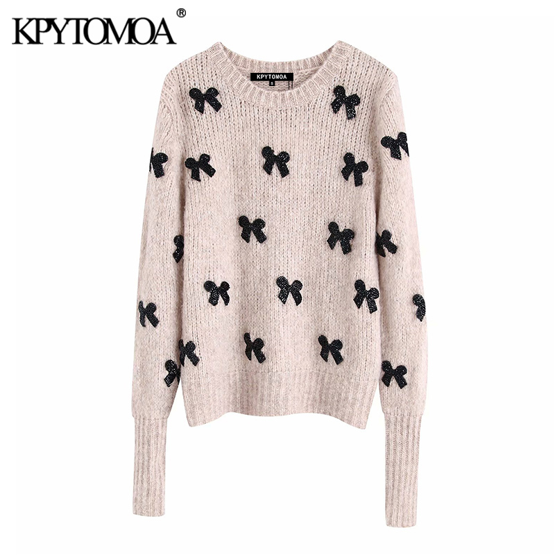 Vintage Elegant Bow Tie Appliques Knitted Sweater Women 2020 Fashion O Neck Long Sleeve Female Pullovers Chic Tops