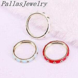 Image 2 - 10Pcs Anel Esmalte da Cor do Ouro com Cz Estrelas Anéis de Dedo Eterna Jóias Charme Mulheres Meninas Anéis