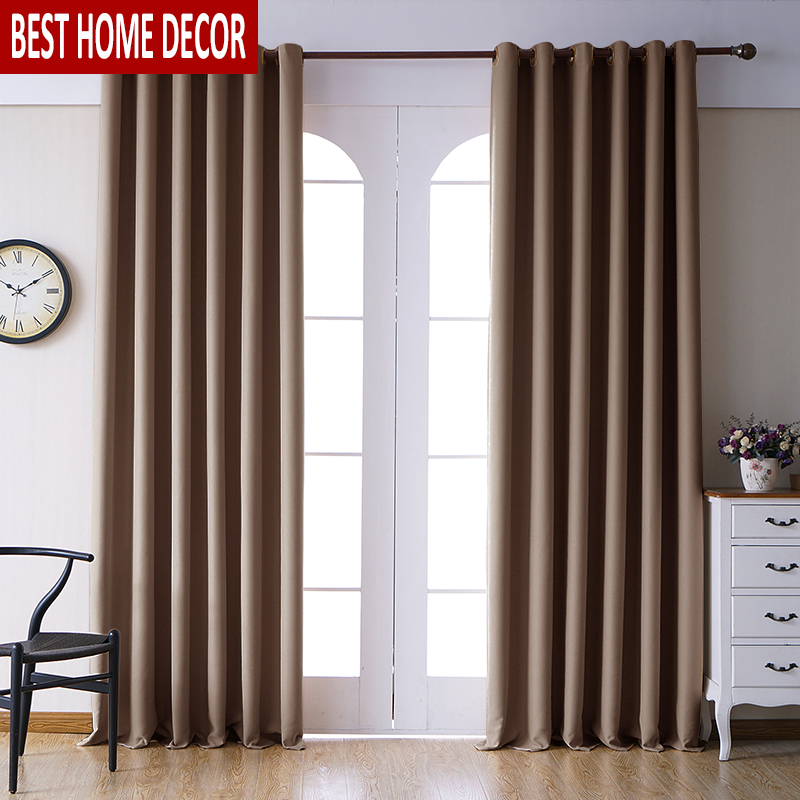 Modern Blackout Curtains For Living Room Bedroom Curtains For Window Drapes Brown Finished Thick Curtains Drapes Door Custom