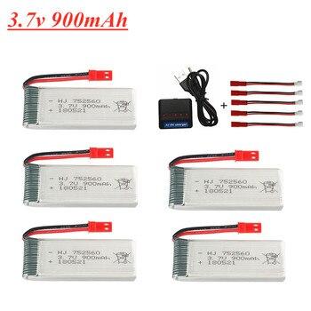 3,7 V 900mAh lipo batería + 5 en 1 cargador para X5 X5C X5SC X5SW 8807 8807W A6 A6W M68 piezas de recambio de drones Rc 3,7 V 752560 batería JST