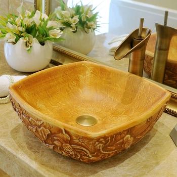 Styl europejski luksusowe toaletki łazienkowe chiński kwiat kształt Jingdezhen Art nablatowa ceramiczna kwadratowa umywalka nablatowa tanie i dobre opinie Pojedynczy otwór Other ociekacz Zlewozmywaki blatowe Zlewy na szampon Ręcznie malowane as show picture porcelain L420*W420*H150mm