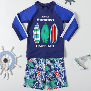Image 3 - ملابس سباحة للأطفال أكمام طويلة ملابس سباحة للأطفال UPF50 الحماية من الشمس Rashguard الصبي ملابس حمام الشاطئ لباس سباحة للأولاد