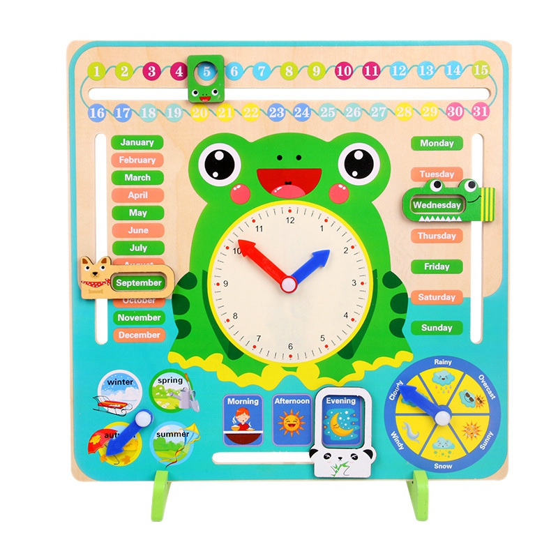 Desktop Wooden Calendar Cartoon Baby Kids Time Cognitive Toy For Learning Weather Month Kindergarten Teaching  Tool