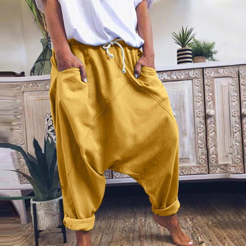 Women Harem Pants Trousers Boho Mid Waist Pants Women Solid Check Pants Baggy Wide Leg Casual Capris
