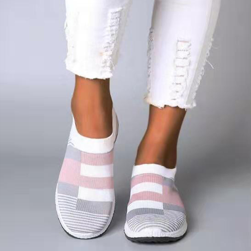MCCKLE Women's Casual Vulcanized Shoes Woman Sock Sneakers 2020 Women Knitted Flat Shoes Ladies Slip On Female Loafers Summer