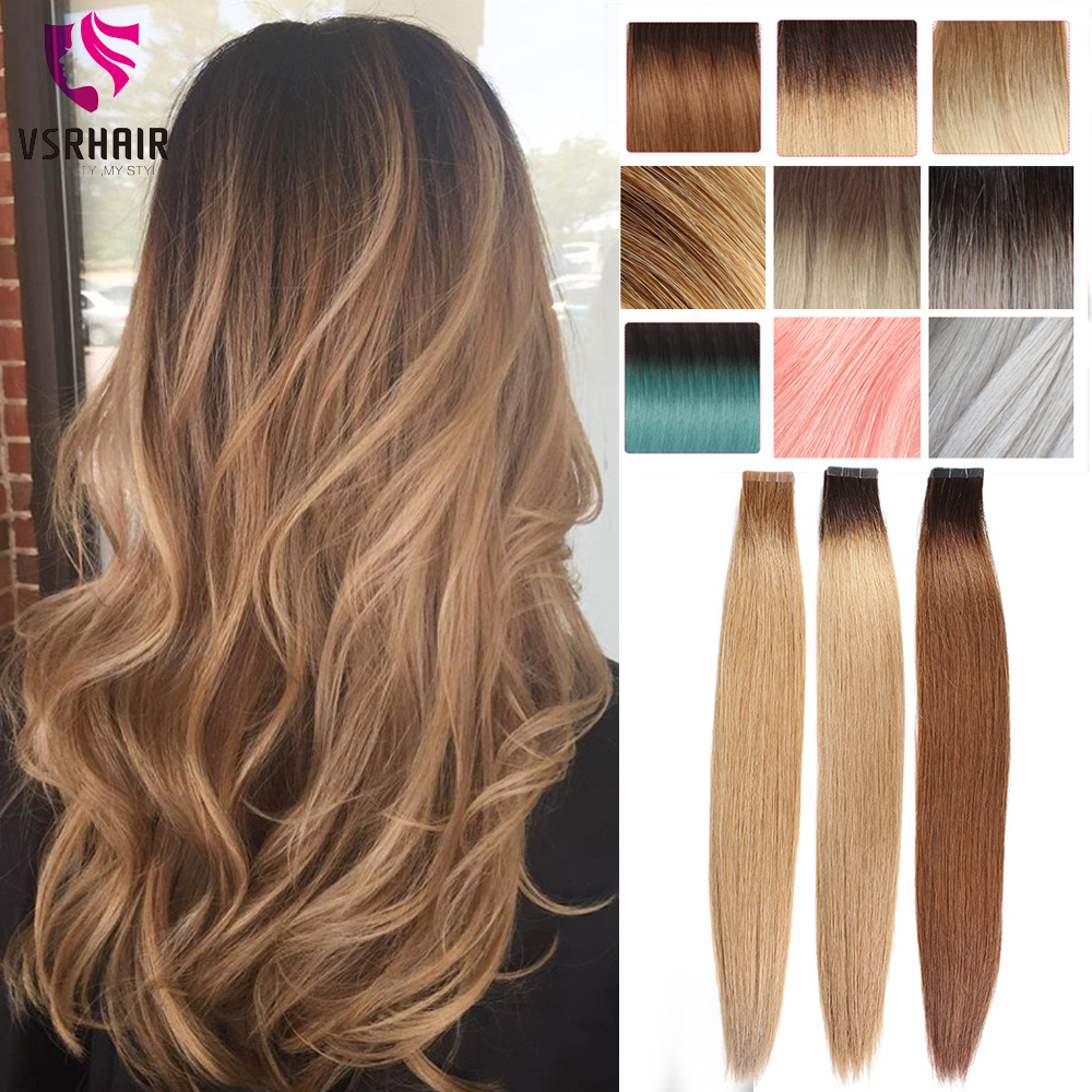 VSR 20 PCS 40 PCS Ombre Non-Remy Tape In 100% Human Hair Extensions Double Sided Adhesive Tape Extensions