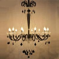 European style coffee chandelier black and white crystal lamp villa stairwell hotel engineering chandelier lighting
