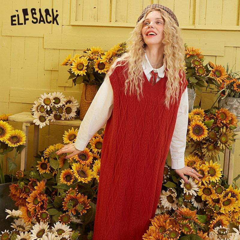 ELFSACK Multicolor Solid Minimalsit Knit Casual Dresses Women 2020 Spring Vintage Pure Sleeveless Korean Style Girly Sweet Dress