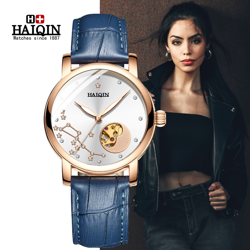 HAIQIN Top Brand Luxury Women Watches Leather Strap Automatic Mechanical Watch Rose Gold Fashion Ladies Dress Watch reloj mujer|Women's Watches| |  - title=