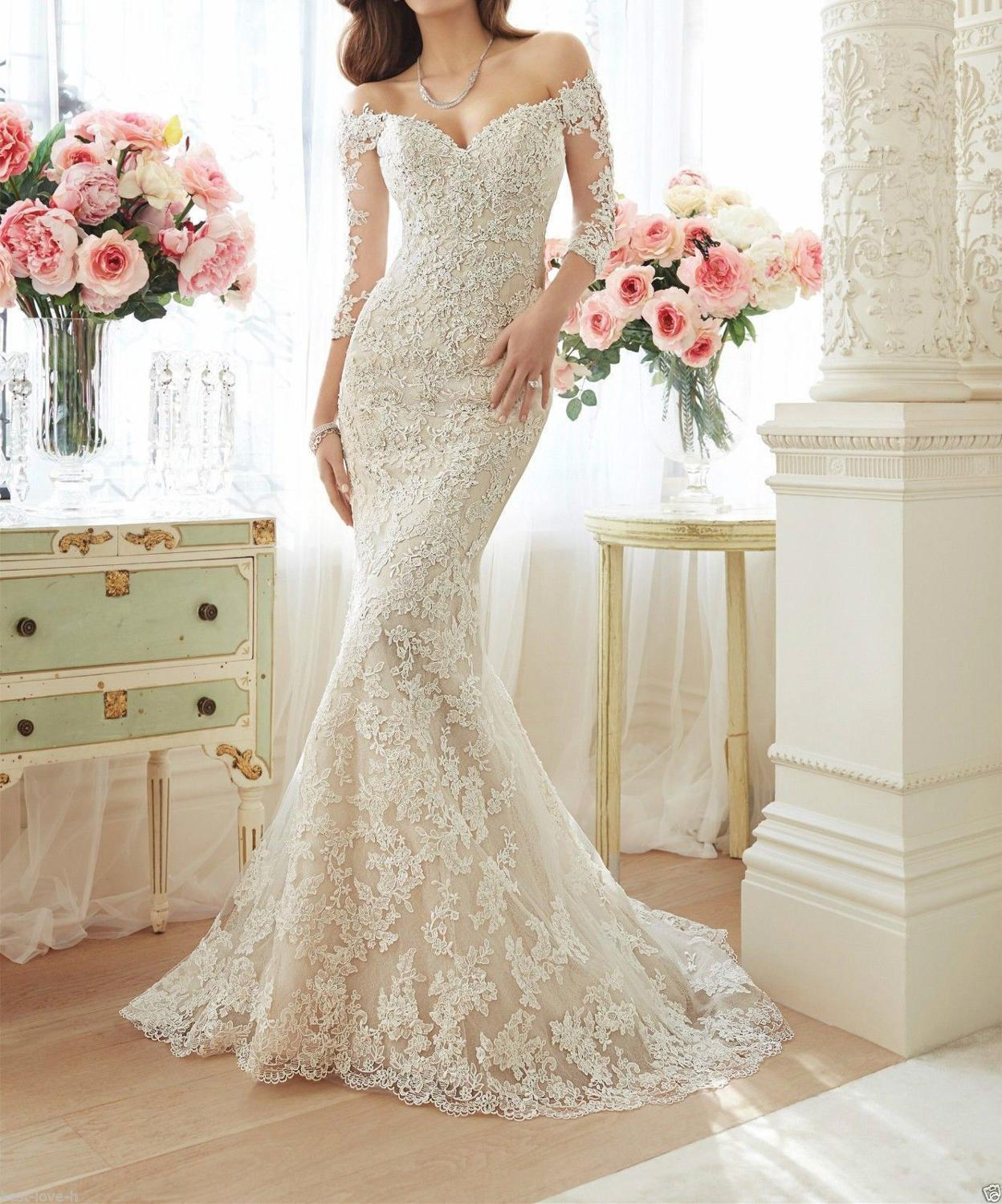 Elegant Off The Shoulder Half Sleeve Mermaid Wedding Dress 2019 See Through Illusion Back White Bridal Gowns With Lace Appliques