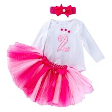 Нарядное платье-пачка для девочек, комплект для дня рождения, розовое летнее платье с повязкой на голову, для начинающих ходить детей