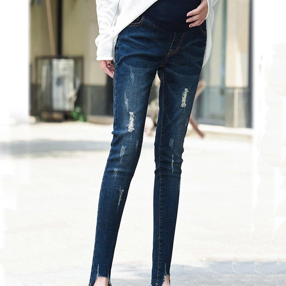 Maternity Women Pants jeans Pregnant Woman Ripped Jeans Maternity Pants Trousers Nursing Prop Belly Legging