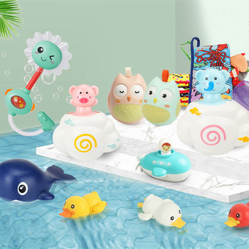 Baby Bath Toys for Kids Shower Beach Bathing Swimming Pool Juguetes for Wind-up Duck Whale Toys for Playing Water Game недорого