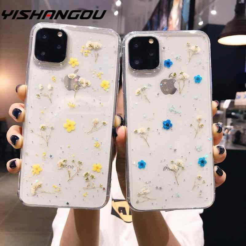 YISAHNGOU For iPhone 11 Pro Max XS XR X 8 7 6 Plus Real Dried Flower Clear Soft Case Cover For iPhone XS MAX X 10 6S Plus Fundas