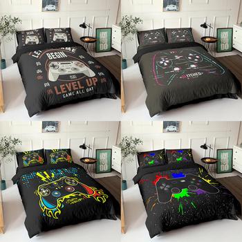 Gamepad zestaw pościeli rozmiar Queen kołdra pokrywa kreatywny czarny pocieszyciel zestaw narzut na łóżko Housse De Couette pościel 2 3 sztuk tanie i dobre opinie Other Zestawy Kołdrę CN (pochodzenie) 1 0 m (3 3 stóp) 1 2 m (4 stóp) 1 35 m (4 5 stóp) 1 5 m (5 stóp) 1 8 m (6 stóp)