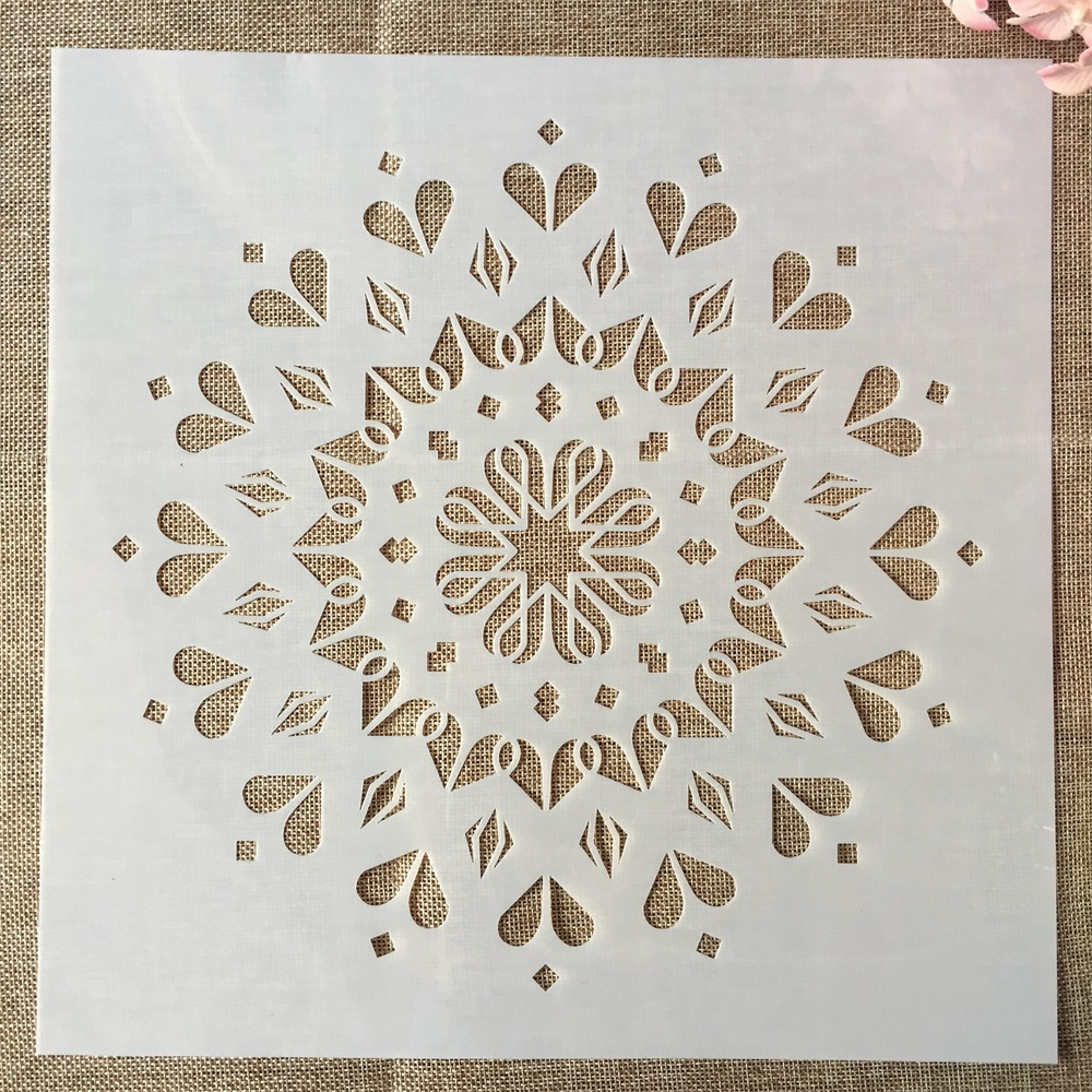 1Pcs 30*30cm Round Heart Flower Circle DIY Layering Stencils Painting Scrapbook Coloring Embossing Decorative Template