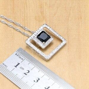 Image 3 - Ensembles de bijoux de mariée en argent 925, pierres noires, cristal blanc, boucles doreilles, pendentif, collier, bagues, Bracelet, pour dames