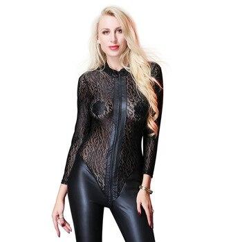 Plus Size Zipper Bodystocking  1