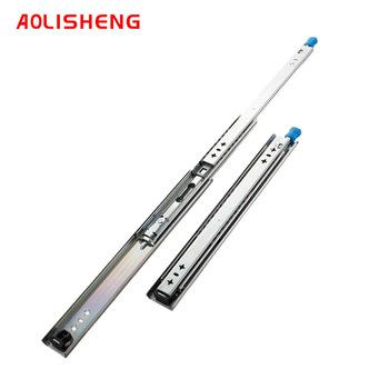 AOLISHENG prowadnice szufladowe z łożyskiem kulkowym z blokadą trzystopniowe pełne przedłużenie szyna ślizgowa o dużej wytrzymałości tanie i dobre opinie CN (pochodzenie) Woodworking Slajdów D2053 2 0*2 0*2 0mm 120KG 18Inch Full Extension 10 8 4 sets ctn 12 -40 Zinc White