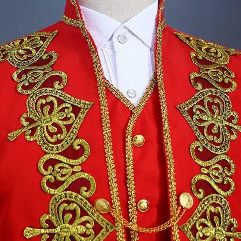 Jas + Broek + Vest 3 Stuk Pakken Mannen Gold Embroidery Open Stitch Stand Kraag Slim Fit Blazer Rood Zwart marineblauw Kostuum Homme