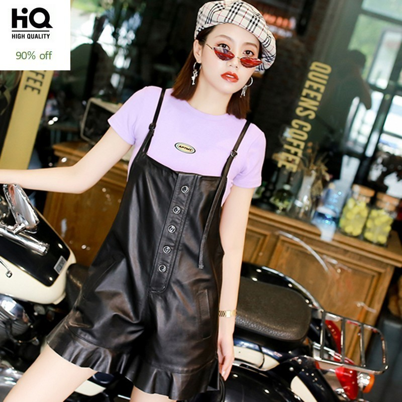 Womens Autumn Shorts Sheepskin Straps Short Pants Genuine Leather Casual High Quality Soft Female Suspender Trouser Streetwear