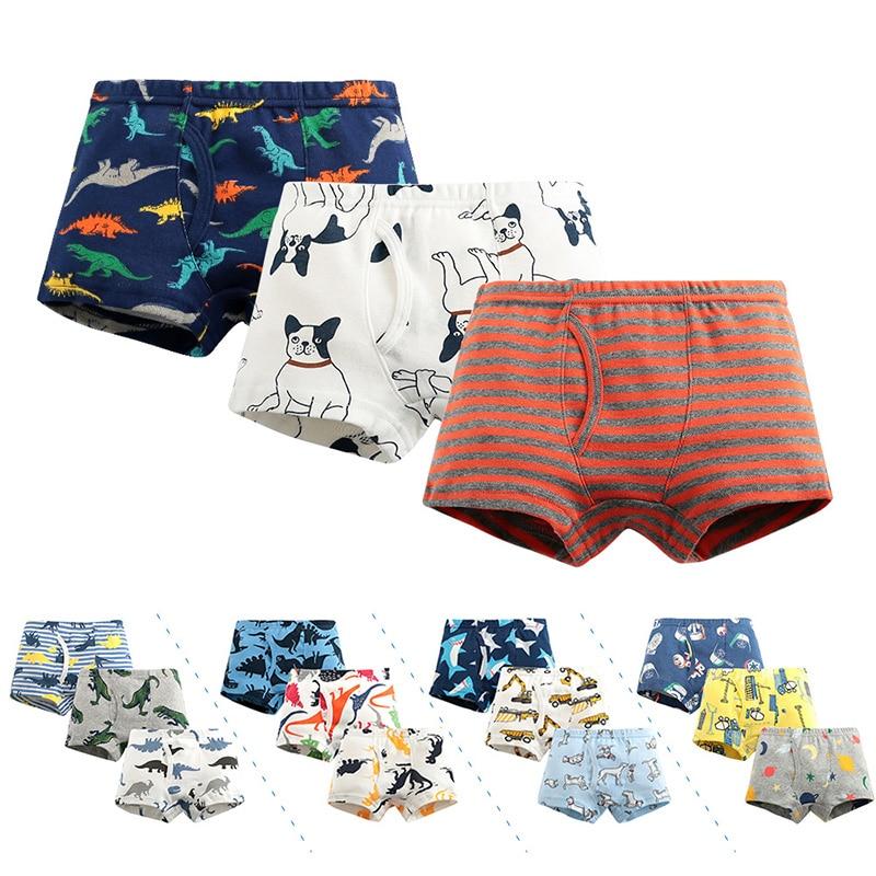 Pure Cotton Boys Panties Cute Cartoon Print Kids Underwear Boys Boxers Briefs 3 Pieces Baby Boy Shorts Teenager Underpants 1-12T