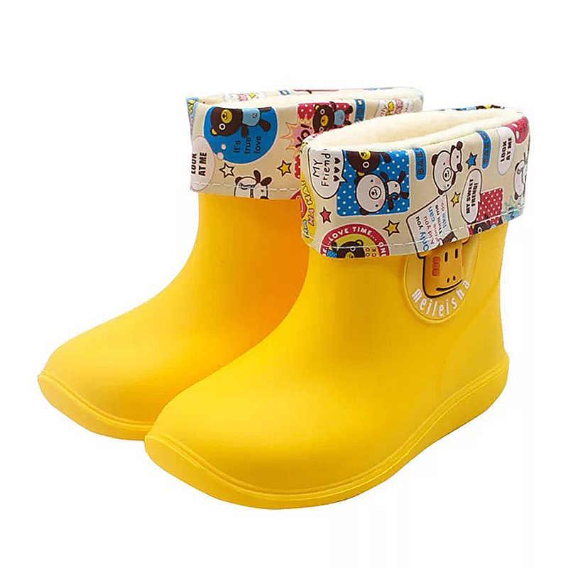 Botas de borracha crianças sapatos de chuva crianças sapatos animais dos desenhos animados água sapatos impermeável criança rainboots antiderrapante