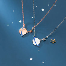 Bbabydxudzhi 925 Sterling Silver Smooth Planet Star Pendant Necklace For Fashion Women Choker Party Jewelry Gift(China)