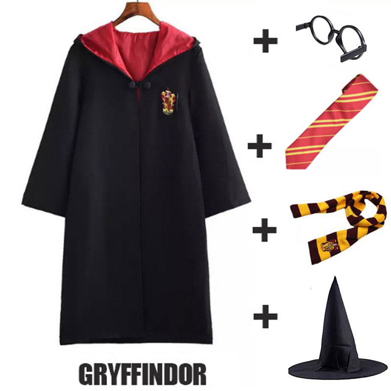 Adult Kids Potter Costume Gryffindor Hufflepuff Slytherin Ravenclaw Potter Magic Robe Cloak Halloween Costume Christmas Gift