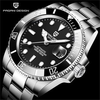 PAGANI DESIGN męski automatyczny mechaniczny zegarek NH35A zegarek ze stali nierdzewnej zegarek szafirowe szkło mężczyźni zegarki Reloj Hombre tanie i dobre opinie 10Bar CN (pochodzenie) Bransoletka zapięcie BUSINESS Mechaniczna Ręka Wiatr Automatyczne self-wiatr 22cm STAINLESS STEEL