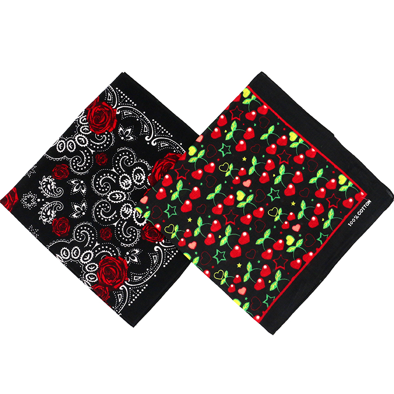 Lovely Black Cherry/Rose Printed Cotton Bandanas For Women/Men Hiphop Girl Headscarf Headband Neckerchief Headwear Square Scarf