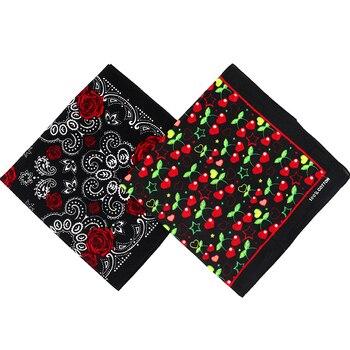 Encantadores pañuelos de algodón con estampado de cerezas negras/rosas para mujeres/hombres Hiphop, pañuelo para la cabeza, pañuelo para la cabeza, pañuelo cuadrado