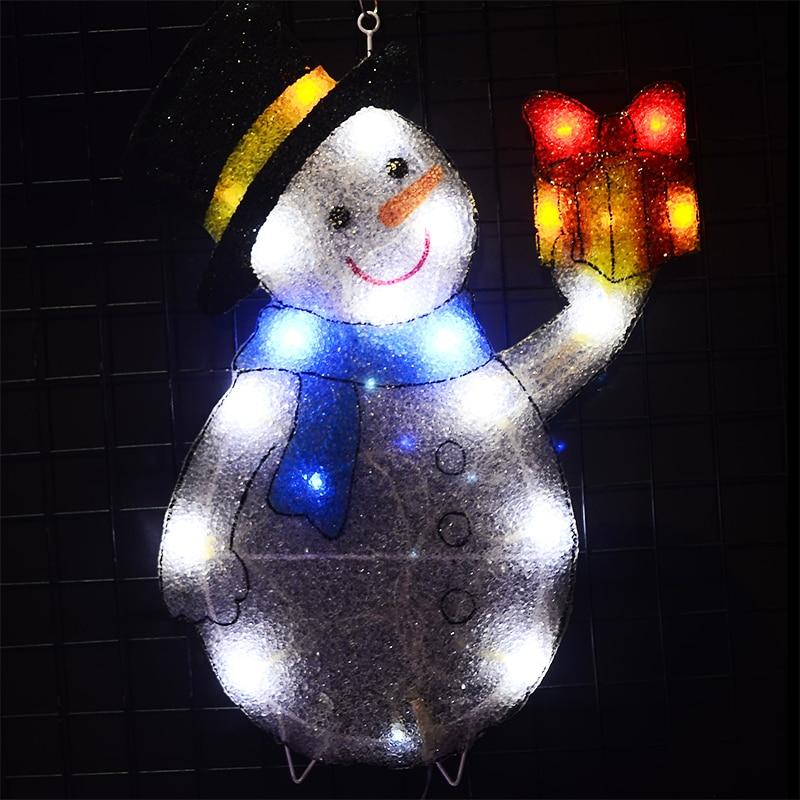 2D Xmas Snowman Gift Box Christmas Lighting  Festival Christmas Decorations For Home Navidad Party Lights