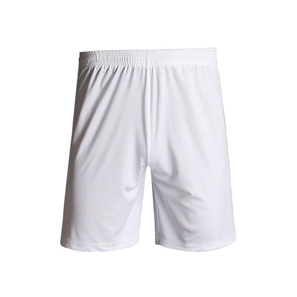 Быстросохнущие спортивные мужские шорты с эластичной резинкой на талии для тренировок, бега, спортзала, пробежек, занятий спортом, фитнесом, футболом, дышащие, одноцветные - Цвет: Белый