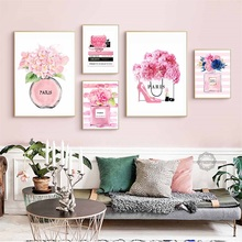Fashion Paris Perfume Book Flower Handbag Nordic Posters And Prints Wall Art Canvas Painting Wall Pictures For Living Room Decor fashion paris perfume red lips flower wall art canvas painting nordic posters and prints wall pictures for living room decor