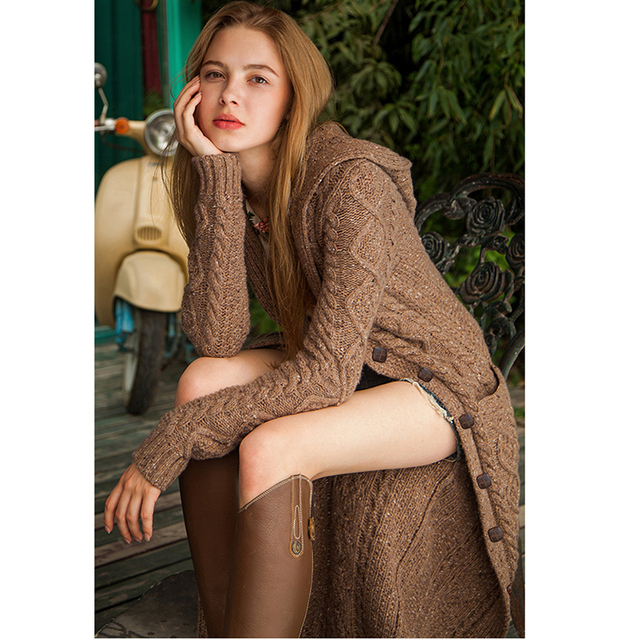 Women's Thick Over the Knee Long Style Hooded Cardigan Sweater 2020 Spring Button Cardigan Sweater Cozy warm Cardigan Sweater 6