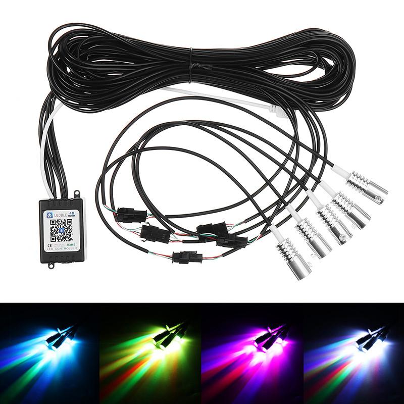 Hot 4PCS RGB LED Strips Ambient Light APP bluetooth Control for Car Interior Atmosphere Light Lamp DIY Music 8M Fiber Optic Band