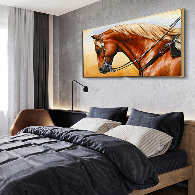 Canvas Painting Nordic Animal Print Oil Painting Running Horse Wall Pictures for living Bed Room Quadro Home Decoration Unframed in Painting Calligraphy from Home Garden