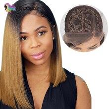 Ombre prosto bob peruka 13X1 częściowo koronka peruka 1b27 brązowy kolor dziecko włosy T część peruka z krótkim bobem dla czarnych kobiet brazylijski Remy 150% D
