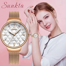 SUNKTA Brand Gift Luxury Watch Women Fashion Dress Quartz Wrist Watch Ladies Stainless Steel Waterproof Watches Relogio Feminino