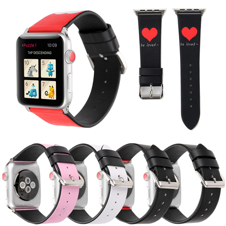 Suitable For AppleWatch Smart Watch One Two Three Generation Sweet Heart English Printed Words Couples Leather Watch Strap