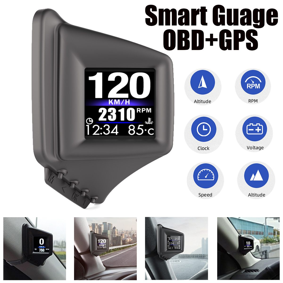 New HUD GADGET OBD2 GPS HUD On-board Computer A-pillar trim Install RPM Turbo Pressure Oil  amp  Water Temp GPS Speedometer